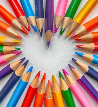 Colored Pencils Making a Heart